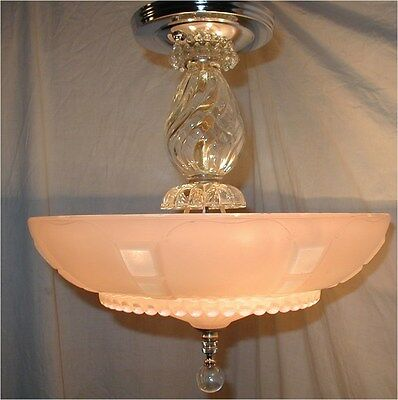 VTG 30S ART DECO clear PALE pink SHADE BUBBLE CRYSTAL CHANDELIER LIGHT FIXTURE