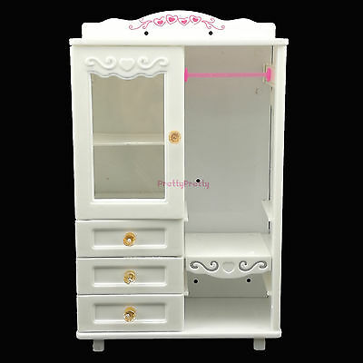 White Princess Closet Wardrobe Clothes Furniture For Barbie DollHouse Gift Toy U