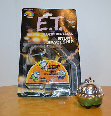 Vintage E.t. Stunt Spaceship Pull Back Toy With Package Ljn 1982 Alien