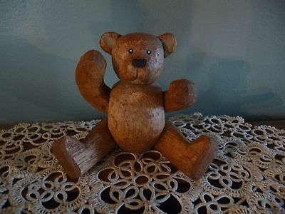 Collectible Vintage Wooden Hand Carved Posable Jointed Miniature Teddy Bear