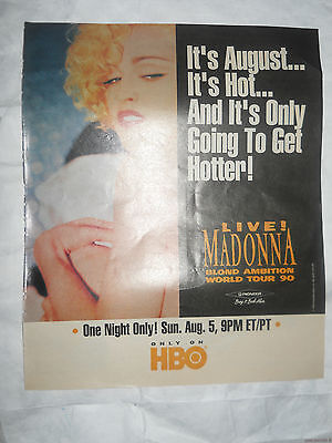 Vintage 90 Live Blond Ambition World Tour Madonna Advertisement Pinup Poster Hbo