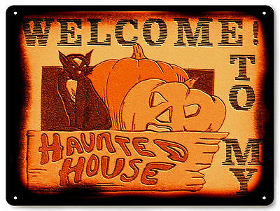 Halloween Metal Sign cat scary funny vintage style great gift wall decor art 472
