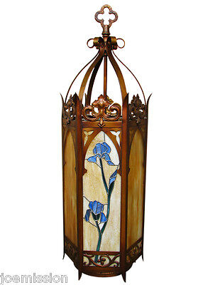GOOD Antique ARTS & CRAFTS Large Hanging Light Fixture Stained Glass f6777