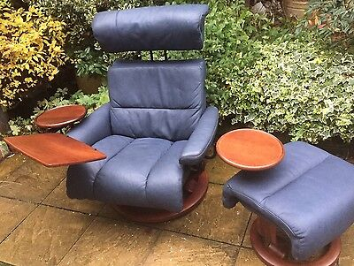 Ekorness Stressless Modern  Large Armchair & Matching Stool Delivery Available