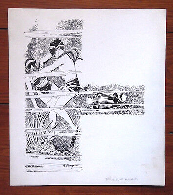 Leo Morey Original Pen & Ink Drawing For Renown Publishers