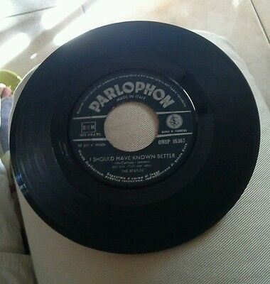 """THE BEATLES """"I SHOULD HAVE KNOWN BETTER-disco 45 giri PARLOPHON italy 1964"""" 10"""