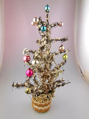 "Vtg Miniature Christmas Feather Type Tinsel Tree 8.5"" Mercury Glass Ornaments"
