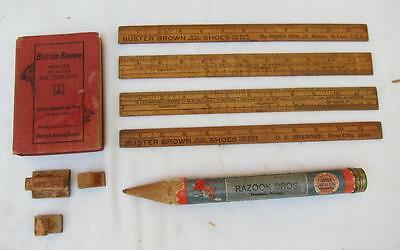Lot Vintage Buster Brown School Supplies Dictionary Rulers Giant Pencil Stamp l