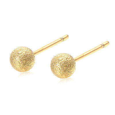 LitterGirls Safety Classic Girl Baby Round Ball Stud Earrings Yellow Gold Filled