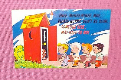 Vintage PLASTICHROME POSTCARD Comical OUTHOUSE CHILDREN Uncirculated USA Made
