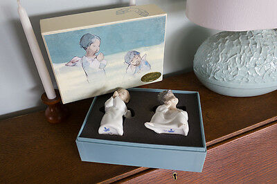 Rare Lladro Set of 2 Angels (#4538 & #4539) in Large Gift Box