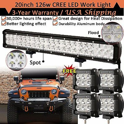 """CREE 20inch LED Light Bar Combo +4x 4"""" Work Pods Offroad SUV Boat Truck 4WD Jeep"""