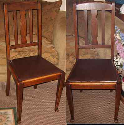 Vintage/Antique Wood Chair Horse hair filled Leather Seat c1900 RARE One of PAIR