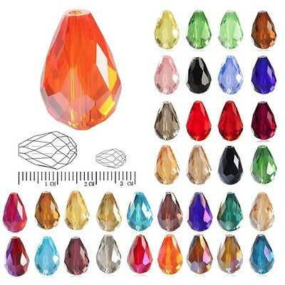 50/72pcs Crystal Beads  Spacer Teardrop Faceted Necklace Jewelry DIY 6mm 10mm