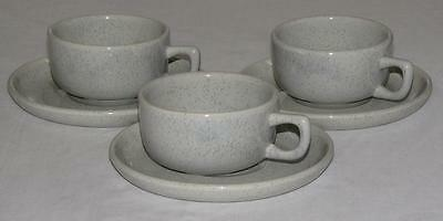 Vintage Bauer Brusche Al Fresco Speckled Gray Coffee Cups W/ Saucers