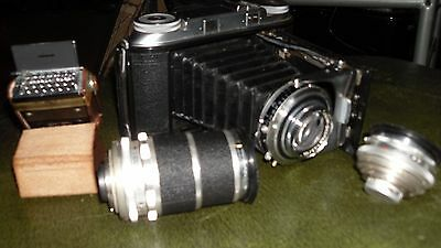 voigtlander II camera / 2 x compur lenses / 1 x photopia light metre