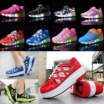 Mens Womens Boys Girls LED Light Up Shoes Kids Retractable Wheel Roller Skate
