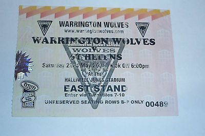 WARRINGTON WOLVES v St HELENS 22nd MAY 2004, EAST STAND TICKET