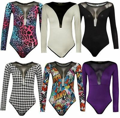 Haut Femmes Cou Manches Longues Insert Maille Justaucorps Body UK 8-26