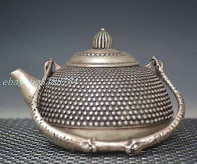 Chinese Old cupronickel Copper hand-made Dots Picture Teapot