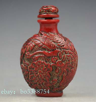 China sculpture imitation red coral resin Dragon phoenix snuff bottles