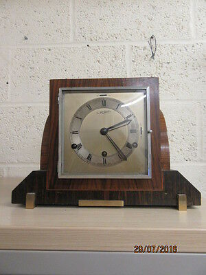 Art Deco 8 Day Chiming Mantel Clock In Working Order By Sir John Bennett C1930