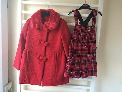 Girls 4-5 Christmas Red Coat And Red Tartan Shorts Dungarees