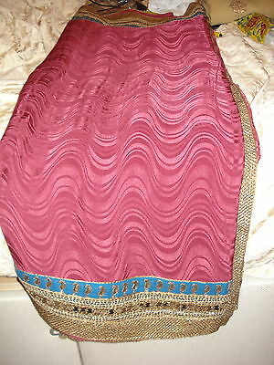 Ladies Maroon Indian Saree With Contrasting Border