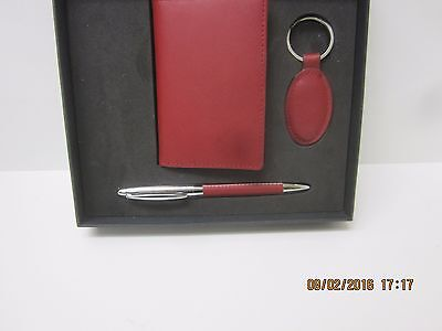 Red Leather Credit Card Walet And Pen Set