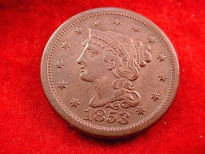 1853 Braided Hair Large Cent Extra Fine++ Brown Coin---Free Shipping!!   #350