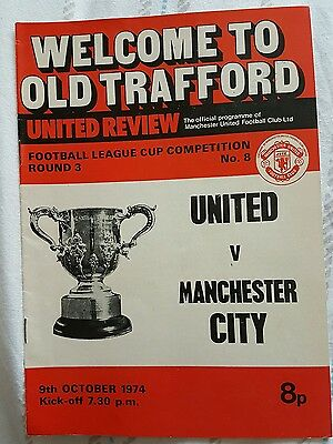 Manchester United v Manchester City LC Rd 3 Programme 1974/75