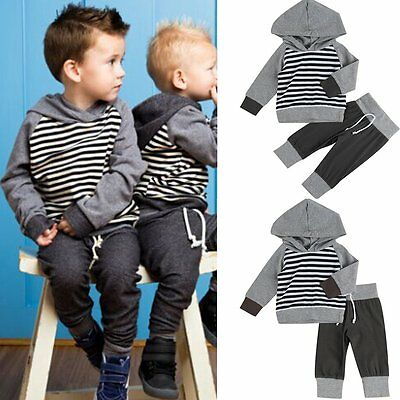 2pcs Newborn Toddler Baby Boys Clothes Hooded Sweatshirt Coat+Pants Outfits Sets