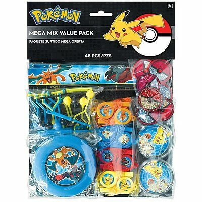 48 Piece Pokemon Birthday Party Favor Pack Kit Loot Bag Filler