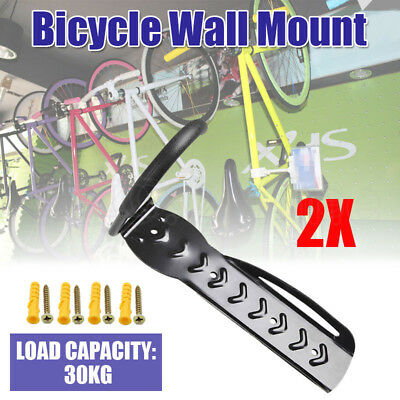 2X Steel Bike Bicycle Storage Wall Mounted Mount Hook Rack Holder Hanger Stand