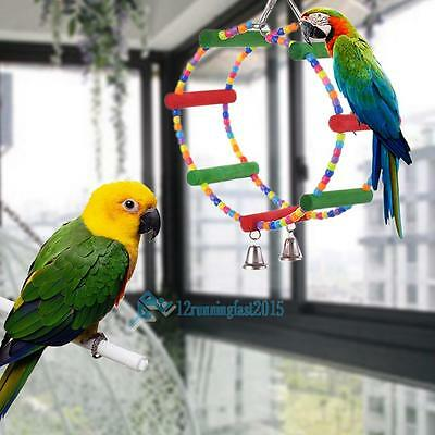 Colorful Swing Bird Toys Interactive Fun Parakeet Cockatiel Budgie Parrot Rope
