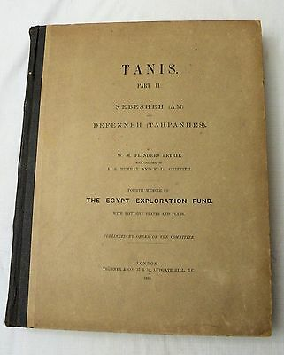 1888 Egyptian archeology book TANIS PART II/NEBESHEH/DEFENNEH by Petrie