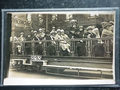 Postcard Real Photo Portrait Group on Open Air Tram No 843 Great Social History