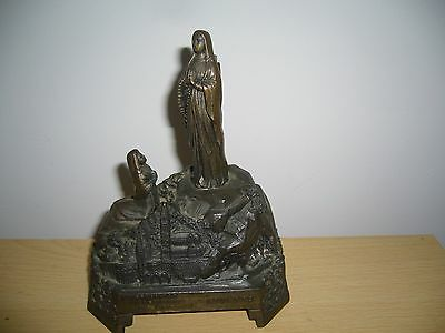 Lourdes metal musical box Mother Mary Vintage 1950s