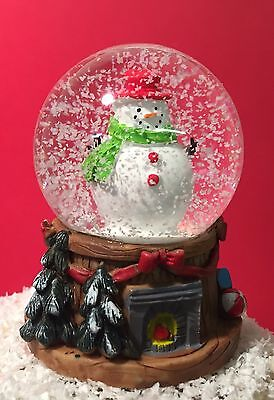 Small Christmas Snow globe ~ Glass Waterball & Fireplace Base with Snowman 4865