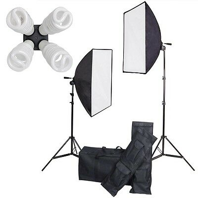 1600W Video Photography Softbox Stand Continuous Studio Lighting Kit w/2 Cases