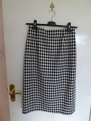 Straight Black and White Check Skirt size 12
