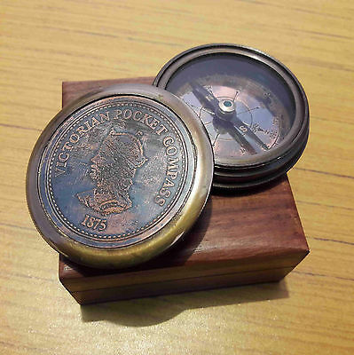 Brass Victorian Compass With Wooden Box Marine Collectible Gift Item