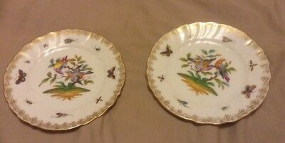 PAIR OF ANTIQUE DRESDEN HANDPAINTED PLATES Antique BIRDS AND INSECTS