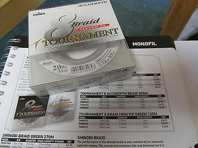 Daiwa Clearance Tournament 8 Accudepth Braid 300M Tn8Bac20 20Lb.