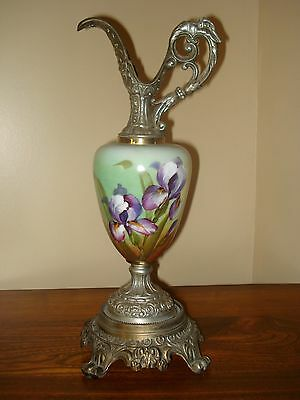 Large Victorian Footed Urn/Ewer Featuring Hand Painted Iris's