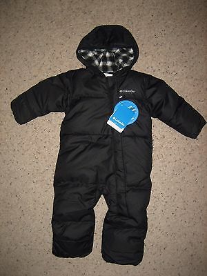 Columbia Snuggly Bunny Baby Bunting Snowsuit Down Black 12-18 Months