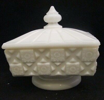 Westmoreland Old Quilt Milk Glass Square Lidded Dish low pedestal footed