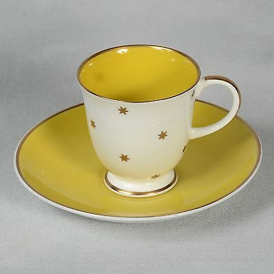 Susie Cooper Demitasse Cup & Saucer - White/lemon Yellow With Gold Stars