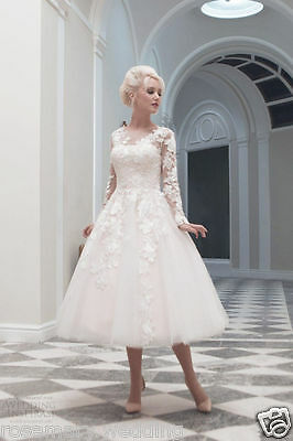 New White/Ivory Lace Short Wedding Dress Bridal Gown Stock Size 6/8/10/12/14/16+