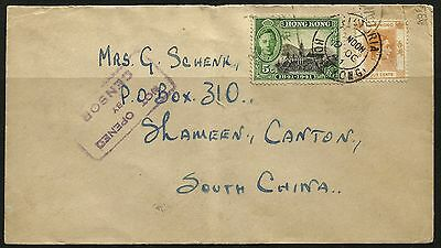 Hong Kong 1941 Diocesan Boys School to Shameen Canton NOT OPENED BY CENSOR Cover